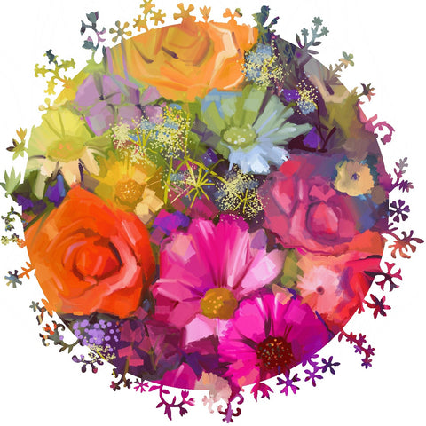 Circle of Flowers (392 Piece Shaped Wooden Jigsaw Puzzle)