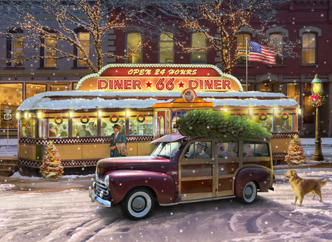 Christmas on Route 66 (318 Piece Christmas Wooden Jigsaw Puzzle)