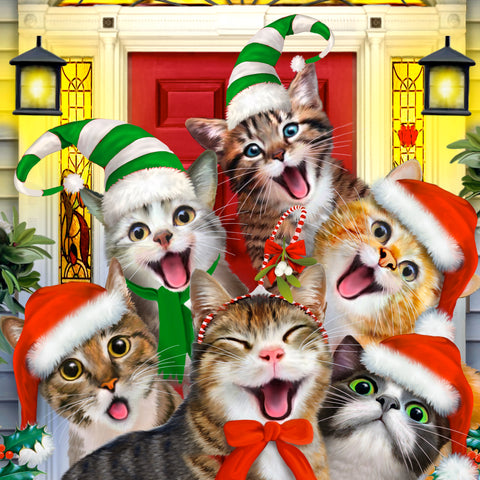Crazy Christmas Cats (55 Piece Mini Christmas Wooden Jigsaw Puzzle)