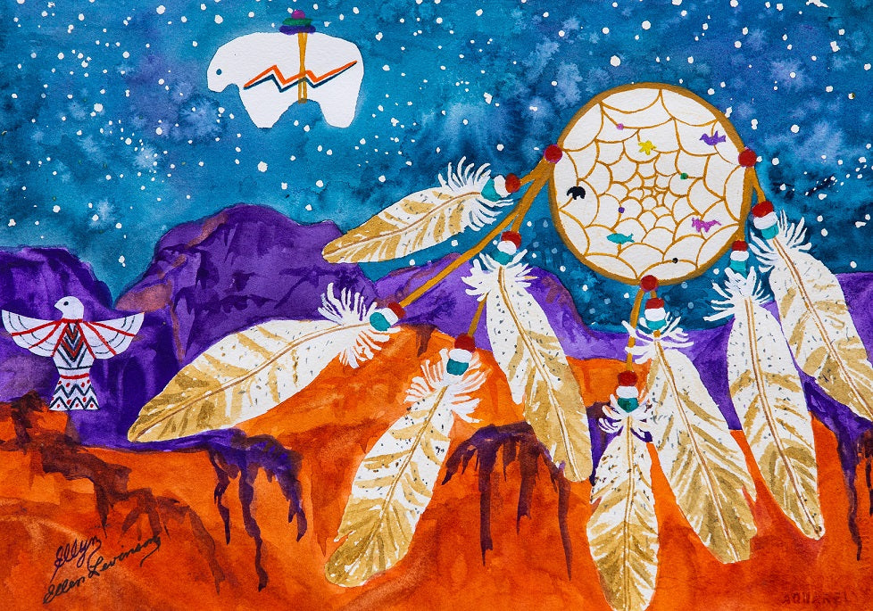 Dreamcatcher Over the Mesas - 402 Piece Wooden Jigsaw Puzzle