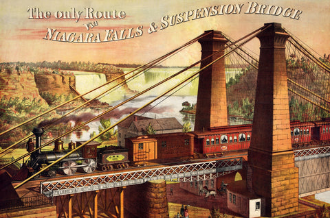 Niagara Falls Railway & Suspension Bridge by William Edgar (401 Piece Wooden Jigsaw Puzzle)