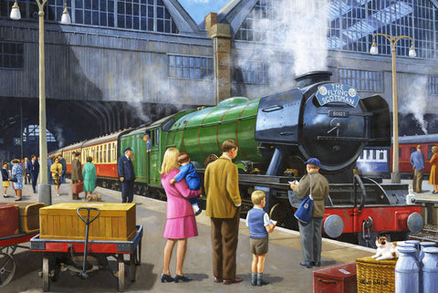 The Flying Scotsman at Kings Cross (299 Piece Wooden Jigsaw Puzzle)