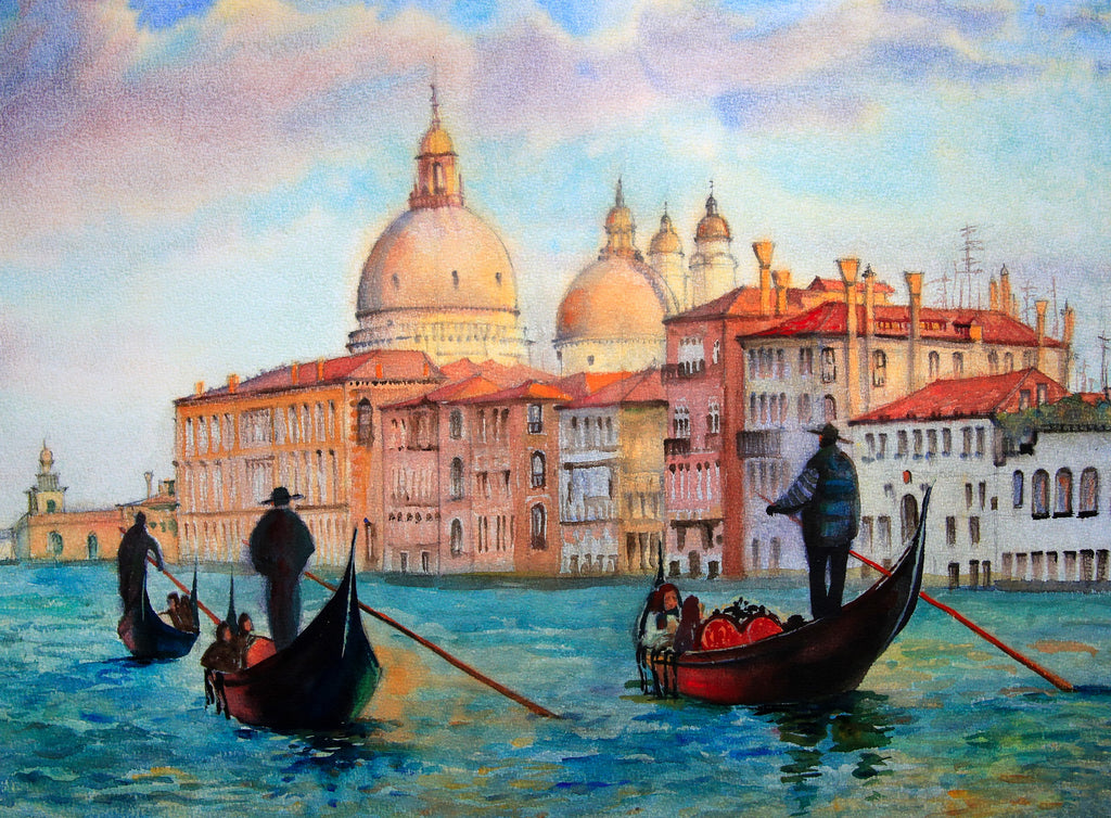Venice - The Grand Canal and Basilica Santa Maria Della Salute, (300 Piece Wooden Jigsaw Puzzle)