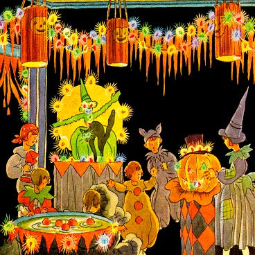Halloween Apple Dunking (50 Pieces) Mini Wooden Jigsaw Puzzle