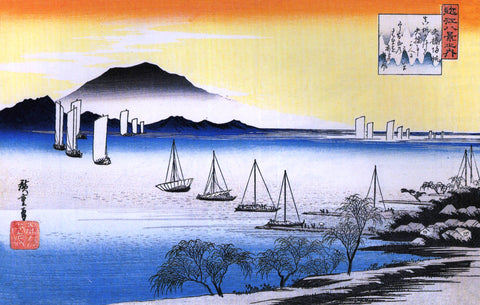 Boats on a Lake by Utagawa (Ando) Hiroshige (400 Piece Wooden Jigsaw Puzzle)