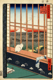 Asakusa Rice Fields (Cat in Window, Watching Mt Fuji) by Ando Hiroshige (416 Piece Adult Wooden Puzzle)