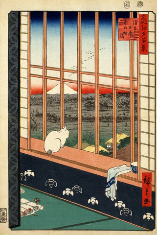 Asakusa Rice Fields (Cat in Window, Watching Mt Fuji) by Ando Hiroshige (416 Piece Wooden Jigsaw Puzzle)