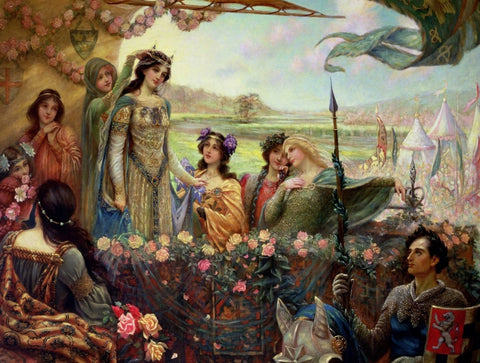 Lancelot and Guinevere by Herbert James Draper (437 Piece Wooden Jigsaw Puzzle)