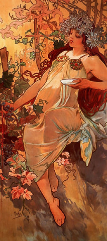 Autumn by Alphonse Mucha (122 Piece Wooden Jigsaw Puzzle)