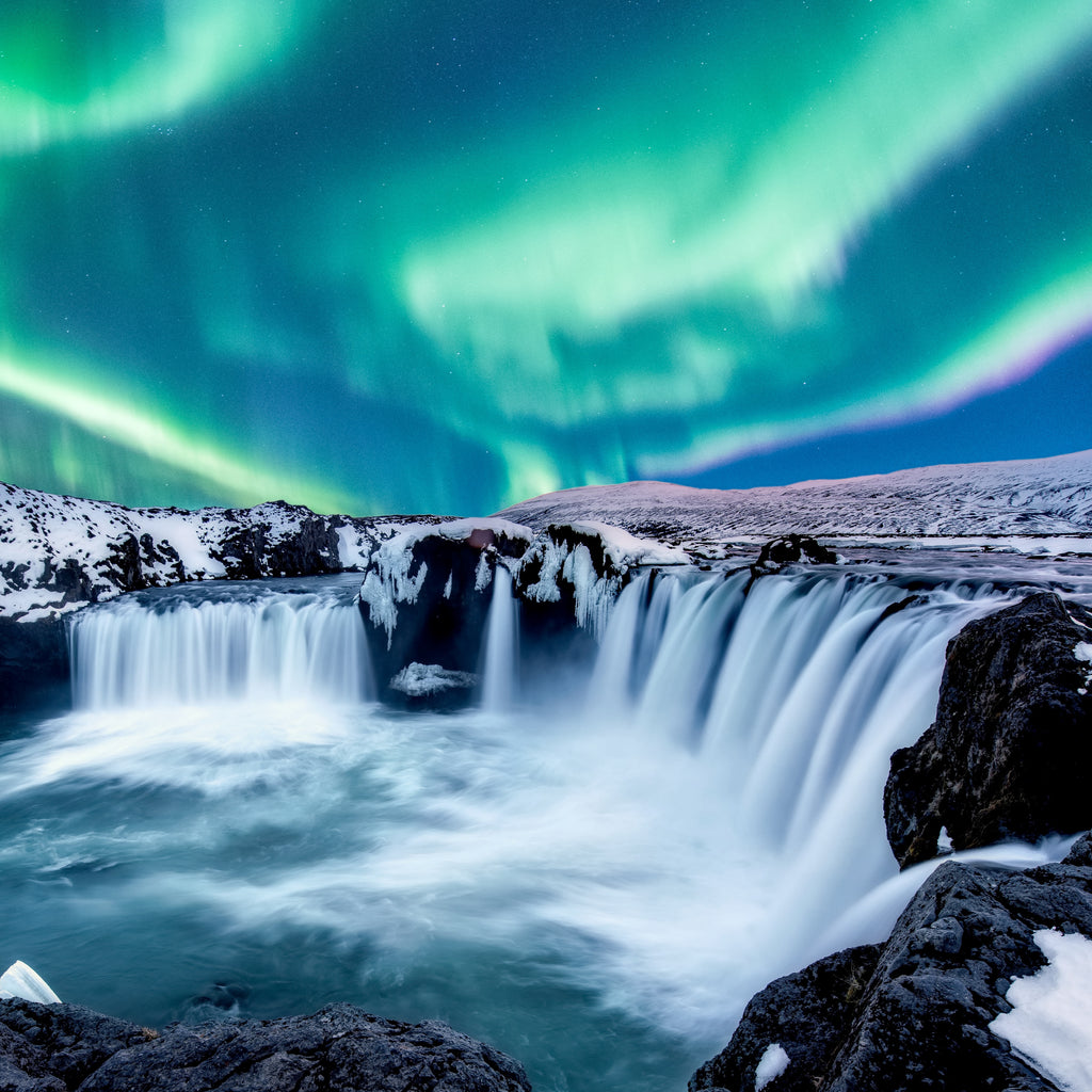 Northern Lights Over Godafoss, Iceland - 200 Piece Wooden Jigsaw Puzzle