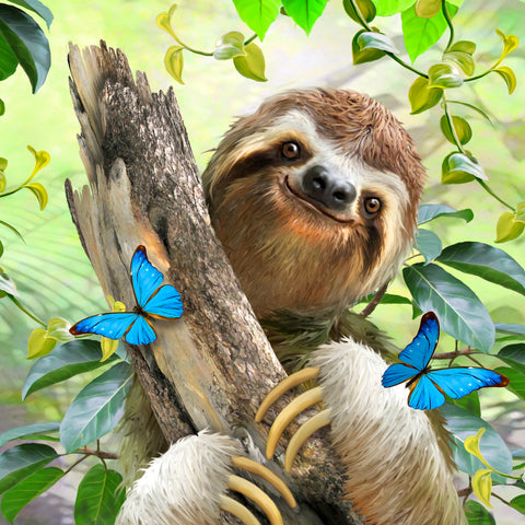 Sloth Among the Butterflies (143 Piece Wooden Jigsaw Puzzle)