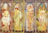 Times of the Day by Alphonse Mucha (539 Piece Wooden Jigsaw Puzzle)