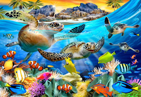 Turtle Beach (49 Piece Mini Wooden Jigsaw Puzzle)