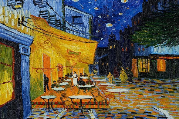 Cafe Terrace At Night, Detail by Vincent Van Gogh (50 Pieces) Mini Wooden Puzzle)