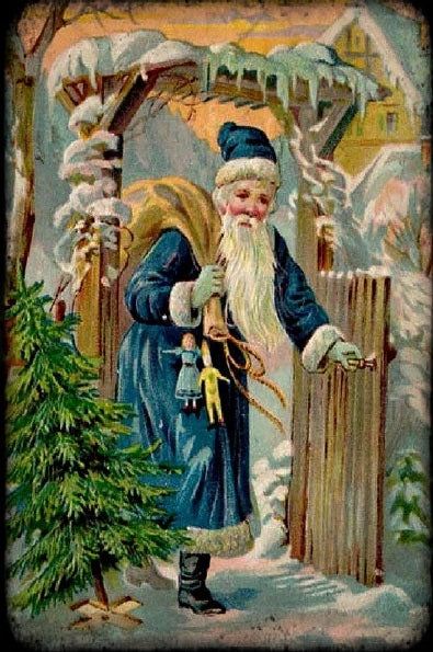 Santa At The Gate (Victorian Santa 3) (51 Pieces) Mini Wooden Jigsaw Puzzle