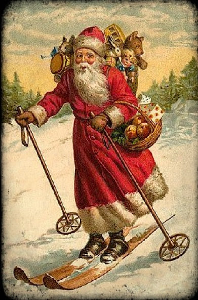 Skiing Santa (Victorian Santa 4) (50 Pieces), Mini Wooden Jigsaw Puzzle