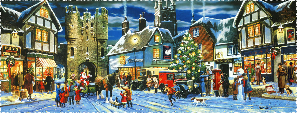 Victorian Christmas Village (608 Piece Wooden Jigsaw Puzzle)