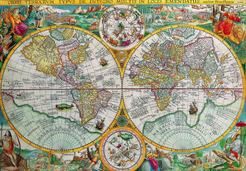 World Map, 1594 (555 Piece Wooden Jigsaw Puzzle)