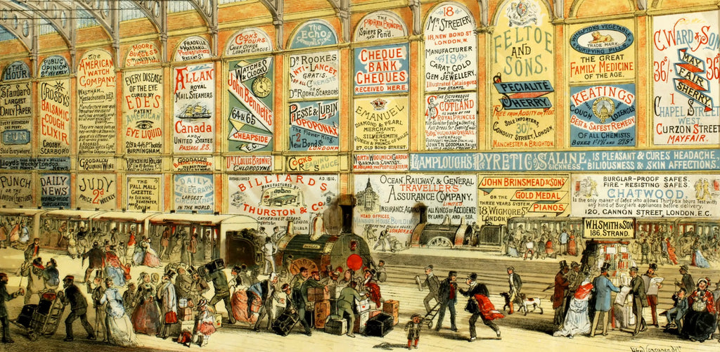 Modern Advertising: A Railway Station in 1874 (519 Pieces) Wooden Jigsaw Puzzle