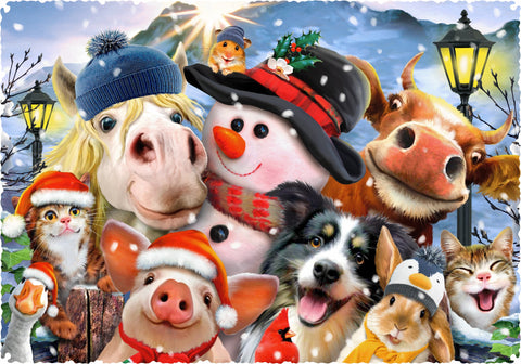 Barnyard Christmas (303 Piece Wooden Jigsaw Puzzle)