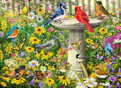 Birds at the Fountain (356 Piece Wooden Jigsaw Puzzle)