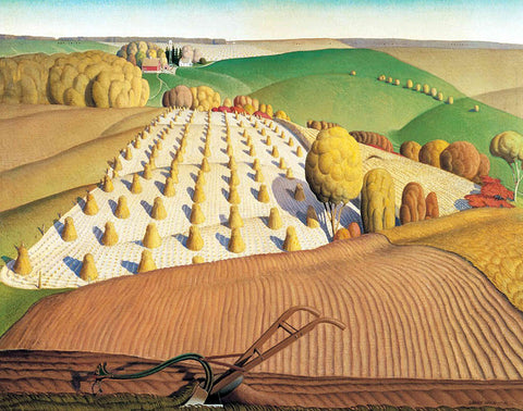 Fall Plowing by Grant Wood (351 Piece Wooden Jigsaw Puzzle)