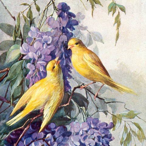 Golden Birds and Purple Blooms (50 Piece Mini Wooden Jigsaw Puzzle)