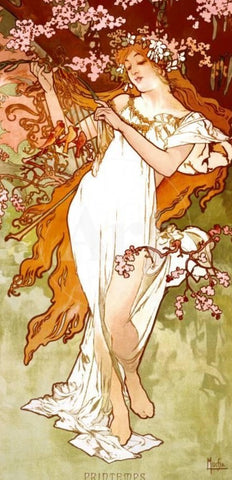 Spring by Alphonse Mucha (122 Piece Wooden Jigsaw Puzzle)