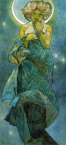 Moonlight by Alphonse Mucha (122 Piece Wooden Jigsaw Puzzle)