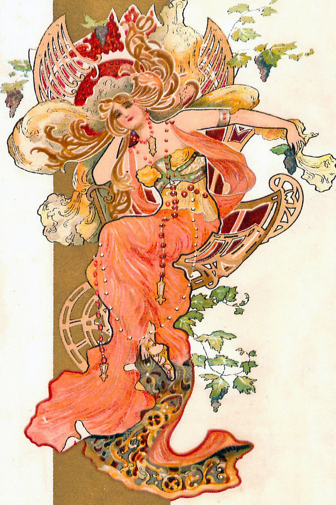 Art Nouveau Peach Princess (47 Piece Wooden Jigsaw Puzzle)