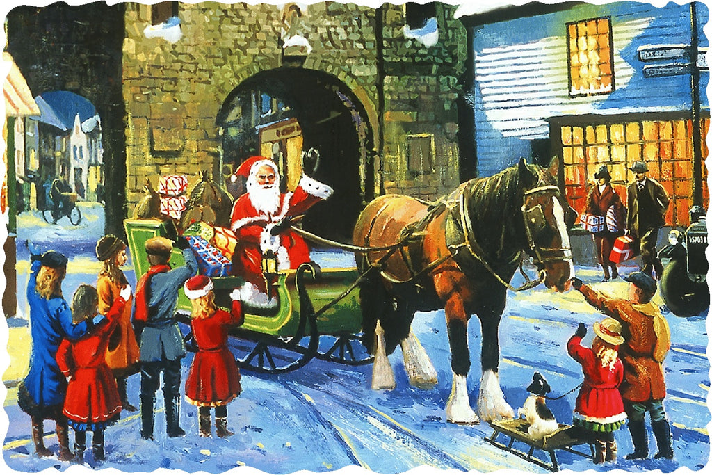 Santa In the Village (50 Piece Mini Christmas Wooden Jigsaw Puzzle)