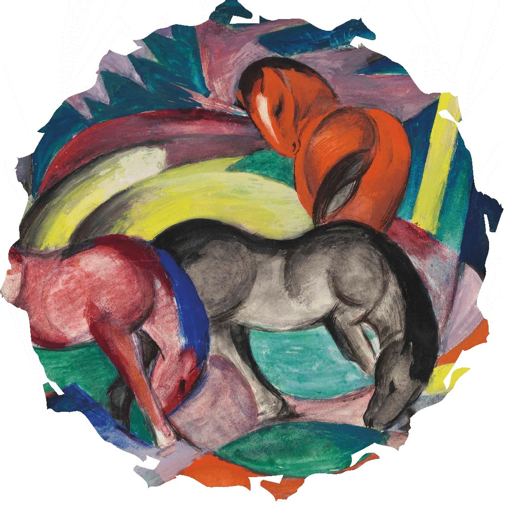 Three Horses, 1912 by Franz Marc (327 Piece Shaped Wooden Jigsaw Puzzle)