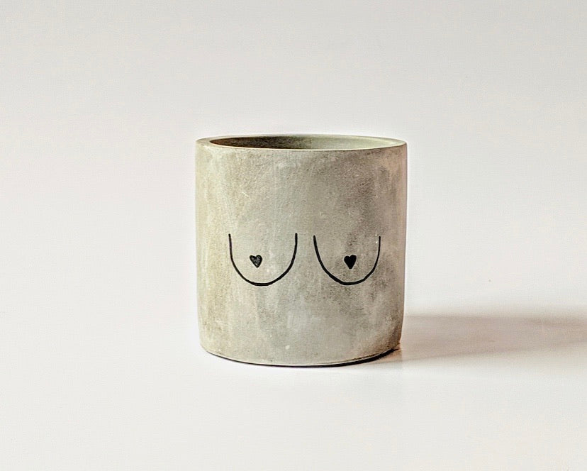 """Tits Up"" Concrete Planter - GrungeVogue"