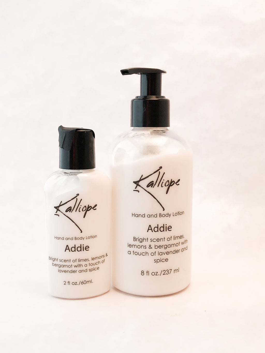 Addie lotion is rich and moisturizing with a bright citrus scent
