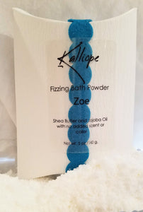 Zoe fizzy bath powder:  jojoba oil and shea butter, no added scent