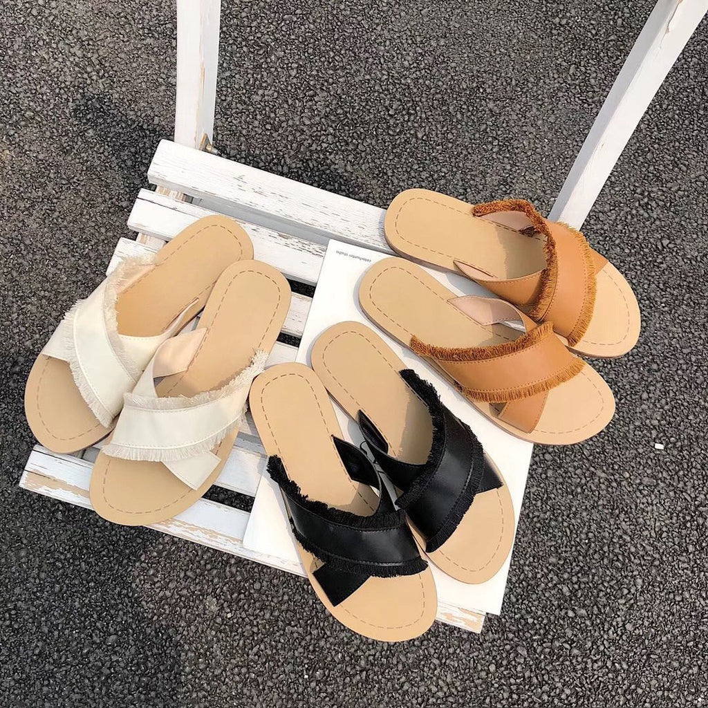 Cross-Strap Slide Sandals