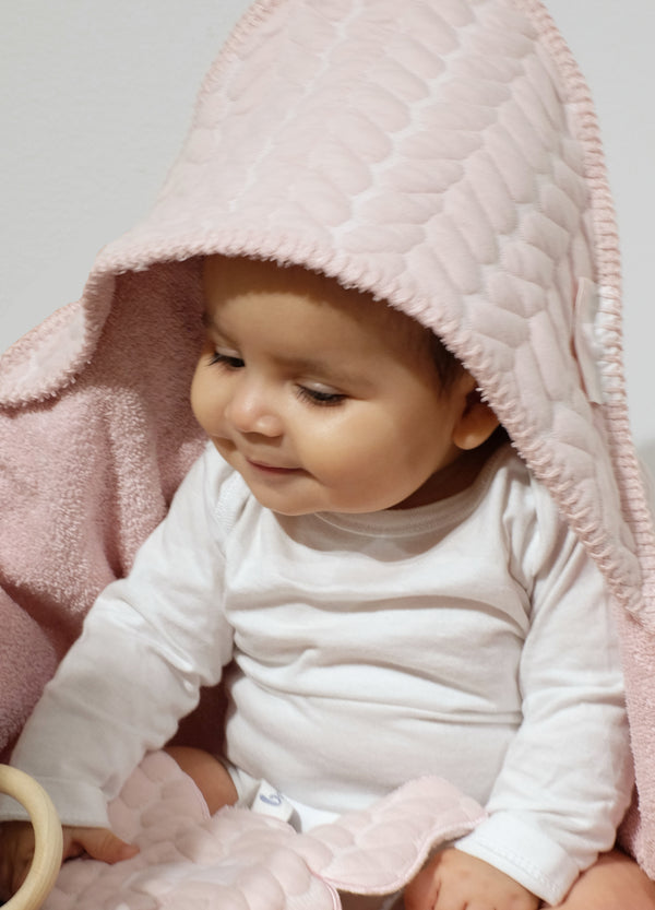 Badcape butterfly cable oud roze - Baby Anne-Cy