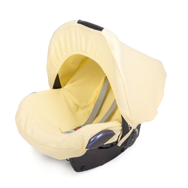 Autostoelhoes herringbone soft yellow - Baby Anne-Cy