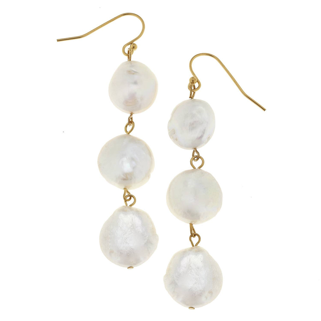 Susan Shaw - Gold and 3 Genuine Coin Pearl Earrings