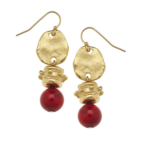 Susan Shaw - Gold Oval and Red Coral Earrings