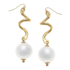 Susan Shaw - Gold with Cotton Pearl Earrings