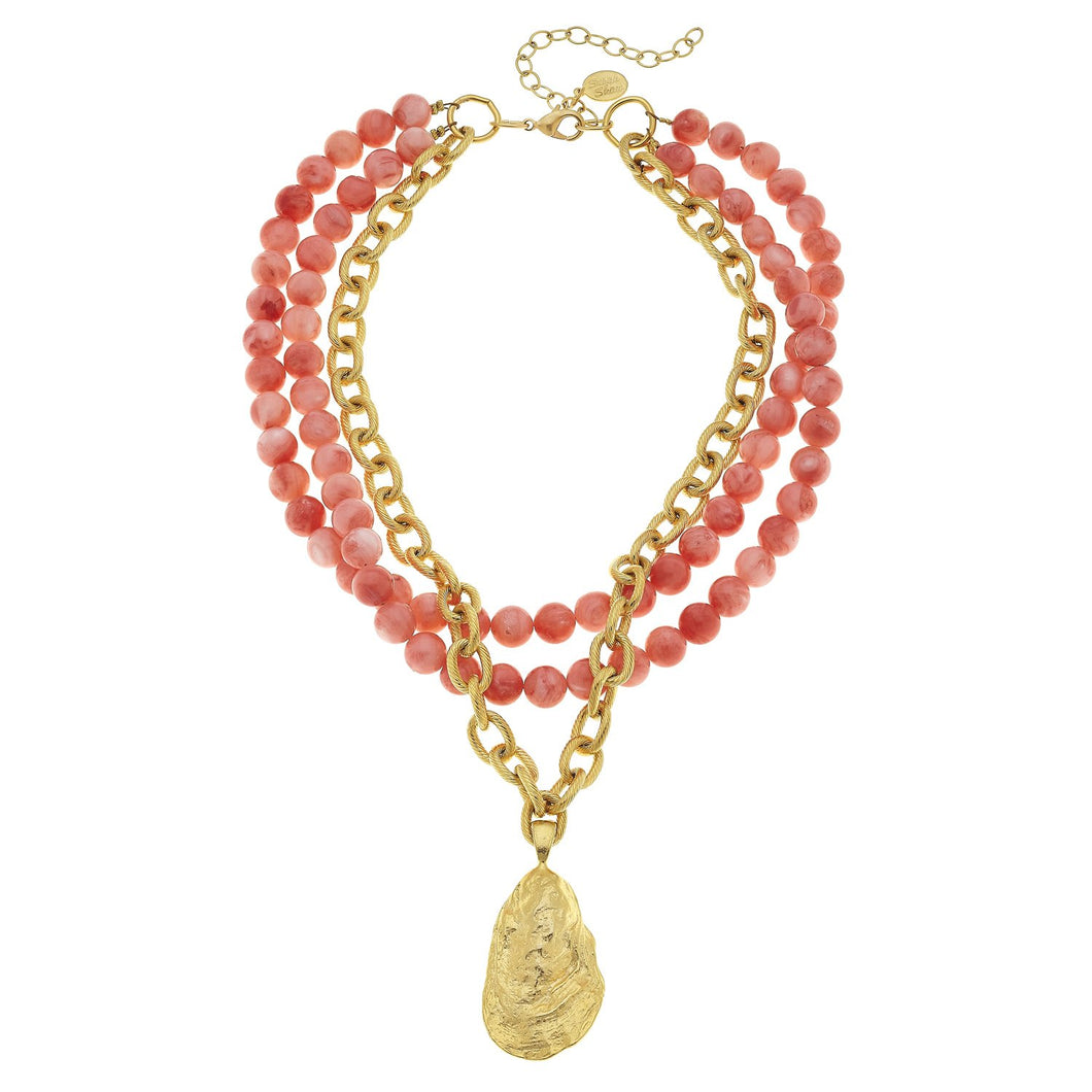 HANDCAST GOLD OYSTER AND CORAL NECKLACE - MaisonBeach