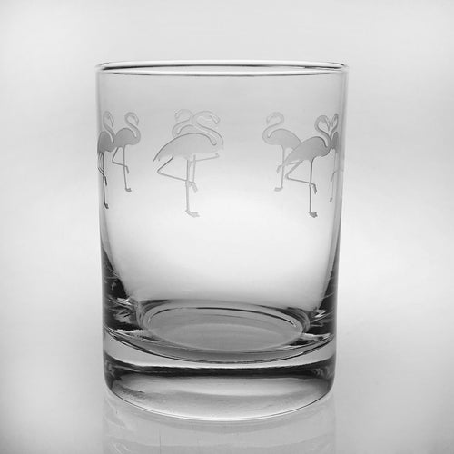 Flock of Flamingo Old Fashion Glasses-Set of 4 - MaisonBeach