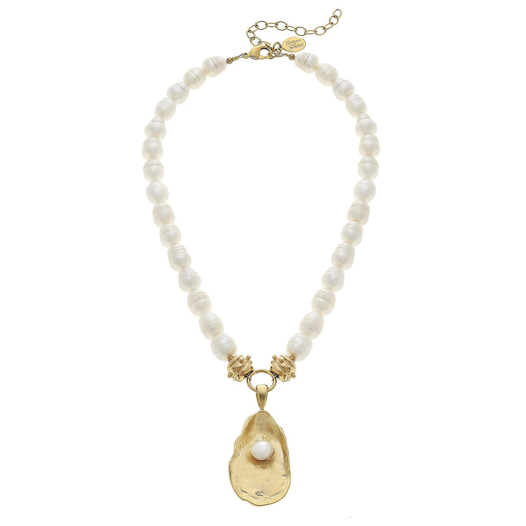 PEARL NECKLACE WITH GOLD OYSTER AND FRESHWATER PEARL - MaisonBeach