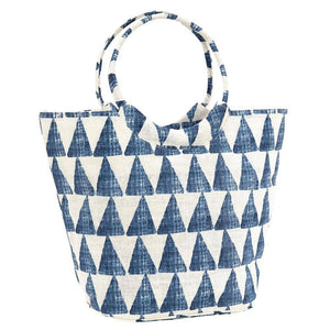 DeDe Blue Jute Bucket Bag