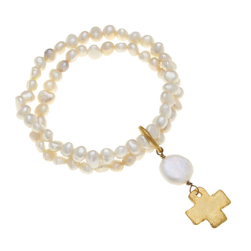 Susan Shaw - Gold Cross on Double Freshwater Pearl Stretch Bracelet
