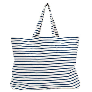 Bateau Stripe Navy Canvas Slouch Bag