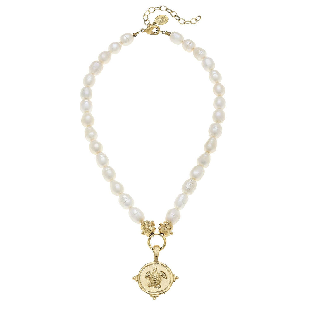 Handcast Gold Turtle on Genuine Freshwater Cultured Pearls