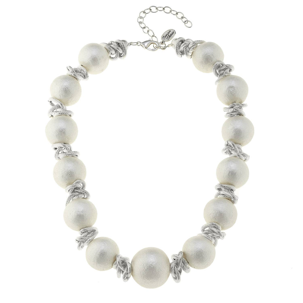 Susan Shaw - Handcast Silver and White Cotton Pearl Choker