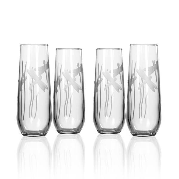 Dragonfly 8.5oz. Stemless Champagne/Prosecco Glass-Set of 4